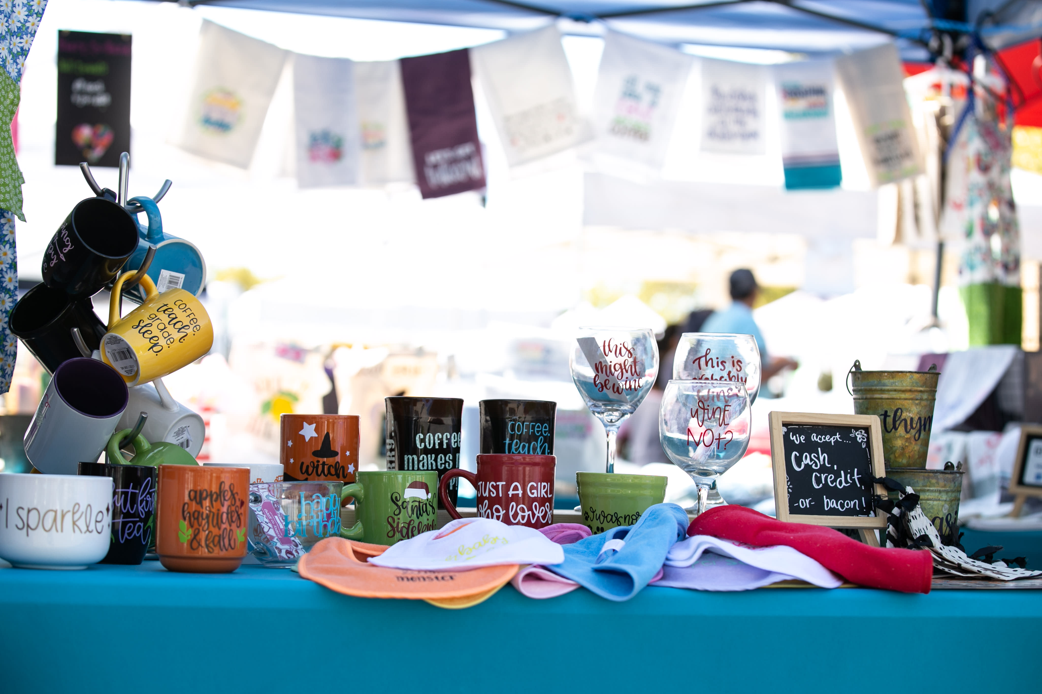 craft table with homemade gifts for sale
